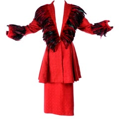 Simon Copeland London Fashion Designer Bespoke Red Skirt & Feather Jacket Suit