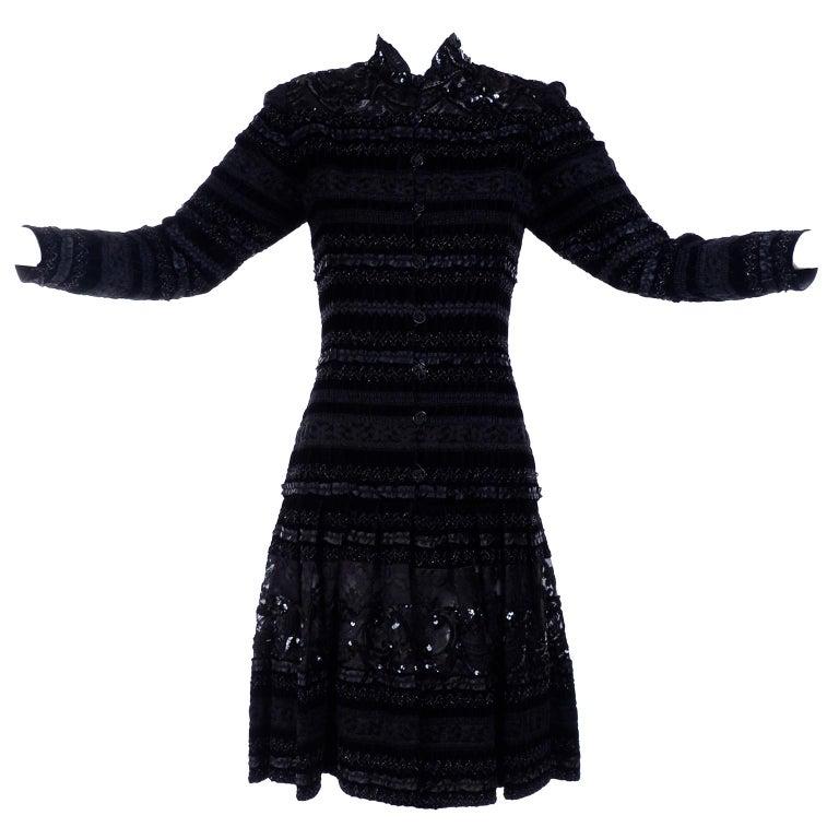 225b3827f0260 Women's Emanuel Ungaro Vintage Black Velvet Dress W Lace Sequins Ribbons &  Metallic Knit For Sale