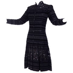 Emanuel Ungaro Vintage Black Velvet Dress W Lace Sequins Ribbons & Metallic Knit