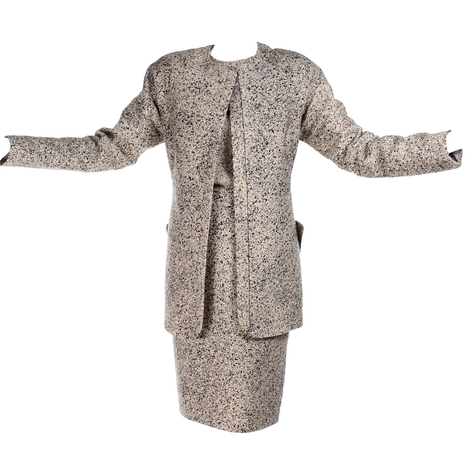 1990s Geoffrey Beene 3 Pc Outfit With Skirt Jacket & Top Suit in Speckled Knit