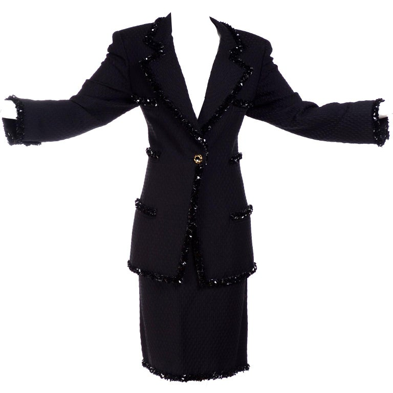 0292831368e022 1996 Emaunel Ungaro Vintage Skirt & Jacket Evening Suit With Sequins  Documented