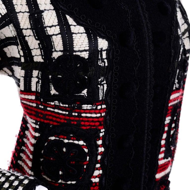 2011 Oscar de la Renta Vintage Mixed Pattern Red & Black Wool Coat with Pom Poms For Sale 5