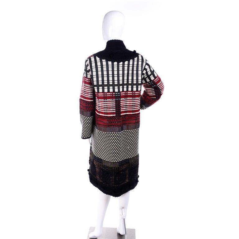 2011 Oscar de la Renta Vintage Mixed Pattern Red & Black Wool Coat with Pom Poms For Sale 1