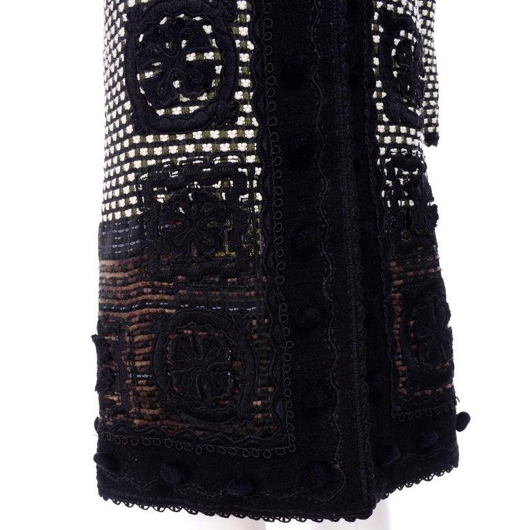 2011 Oscar de la Renta Vintage Mixed Pattern Red & Black Wool Coat with Pom Poms For Sale 6