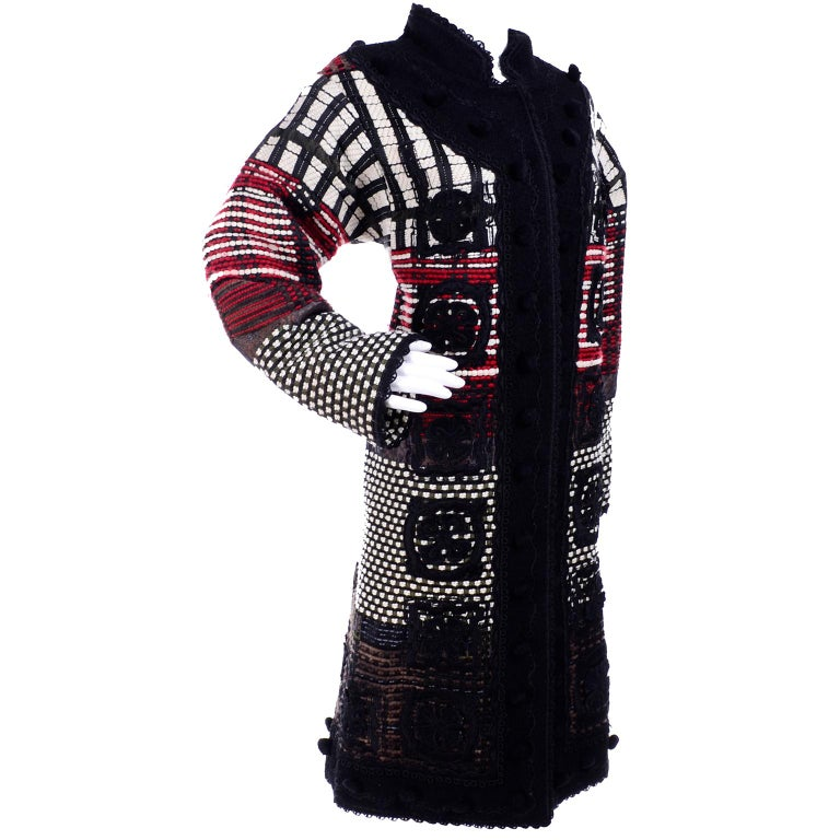2011 Oscar de la Renta Vintage Mixed Pattern Red & Black Wool Coat with Pom Poms For Sale