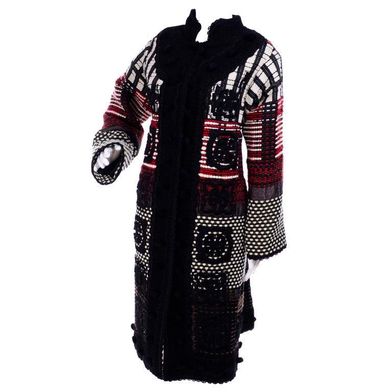 2011 Oscar de la Renta Vintage Mixed Pattern Red & Black Wool Coat with Pom Poms For Sale 2