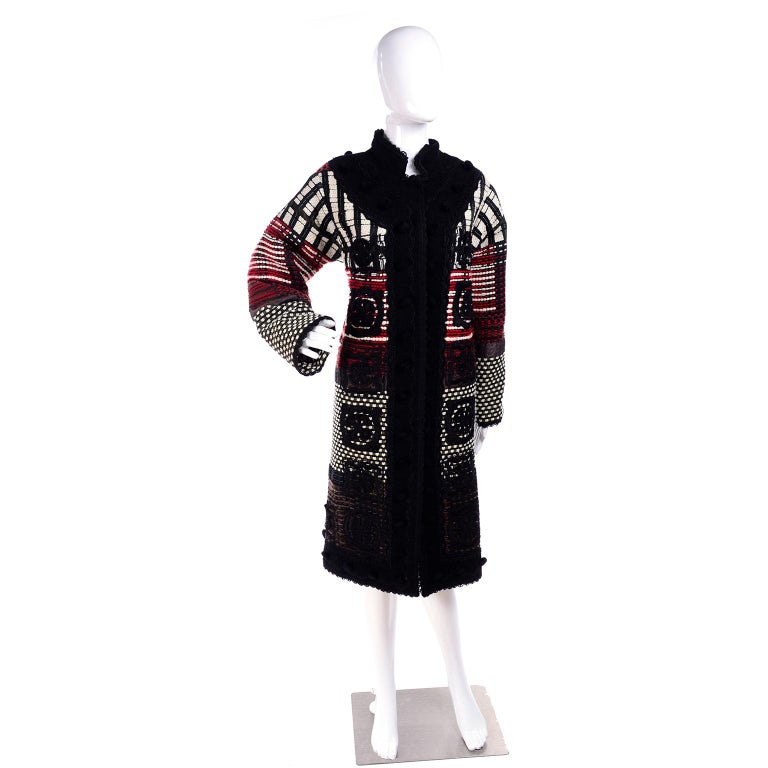 2011 Oscar de la Renta Vintage Mixed Pattern Red & Black Wool Coat with Pom Poms In Good Condition For Sale In Portland, OR