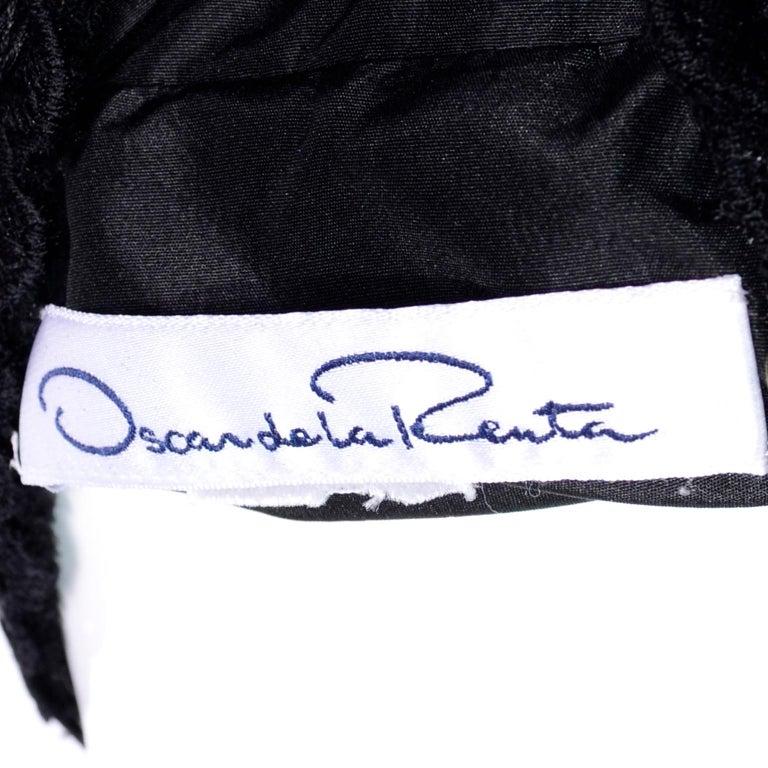 2011 Oscar de la Renta Vintage Mixed Pattern Red & Black Wool Coat with Pom Poms For Sale 8