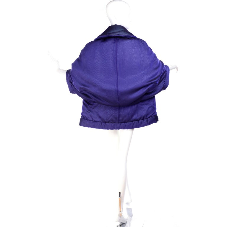 Gianfranco Ferre Jacket Avant Garde Puffer Style Purple Silk Coat For Sale 6