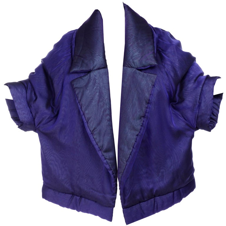Gianfranco Ferre Jacket Avant Garde Puffer Style Purple Silk Coat For Sale 8