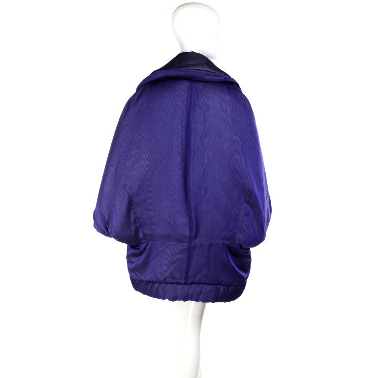 Gianfranco Ferre Jacket Avant Garde Puffer Style Purple Silk Coat For Sale 4