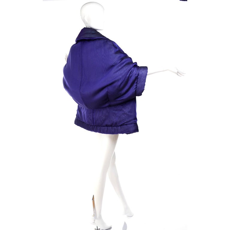 Gianfranco Ferre Jacket Avant Garde Puffer Style Purple Silk Coat For Sale 3