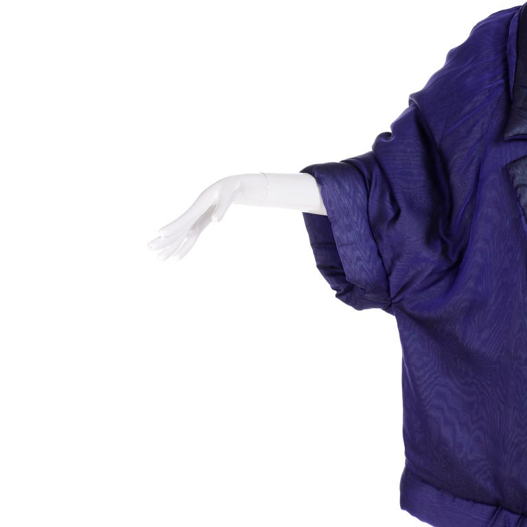 Gianfranco Ferre Jacket Avant Garde Puffer Style Purple Silk Coat For Sale 1