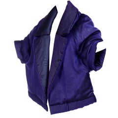 Gianfranco Ferre Jacket Avant Garde Puffer Style Purple Silk Coat