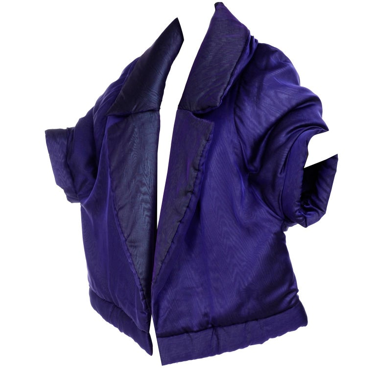 Gianfranco Ferre Jacket Avant Garde Puffer Style Purple Silk Coat For Sale