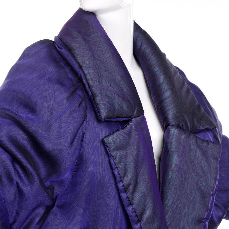 Gianfranco Ferre Jacket Avant Garde Puffer Style Purple Silk Coat In Good Condition For Sale In Portland, OR