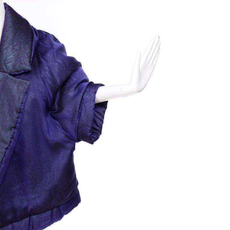 Gianfranco Ferre Jacket Avant Garde Puffer Style Purple Silk Coat For Sale 2