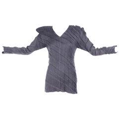 Gray Issey Miyake Avant Garde Pleated Top W/ Asymmetrical Shoulders Size Medium