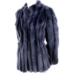 Vintage Jacket in Steel Blue Faux Fur Size 6/8 Winter Coat