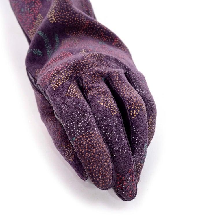Women's Carlos Falchi Vintage Long Purple Leather Gloves w/ Pointillism Style Flowers For Sale