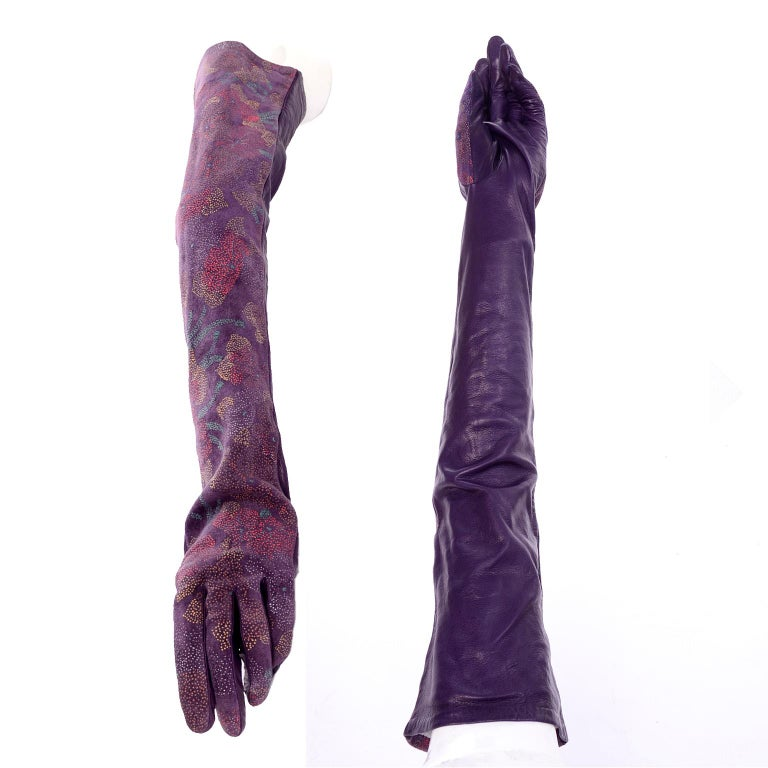Carlos Falchi Vintage Long Purple Leather Gloves w/ Pointillism Style Flowers For Sale 1