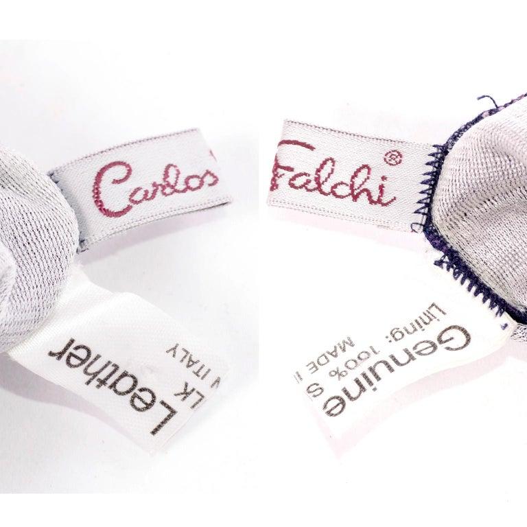Carlos Falchi Vintage Long Purple Leather Gloves w/ Pointillism Style Flowers For Sale 6