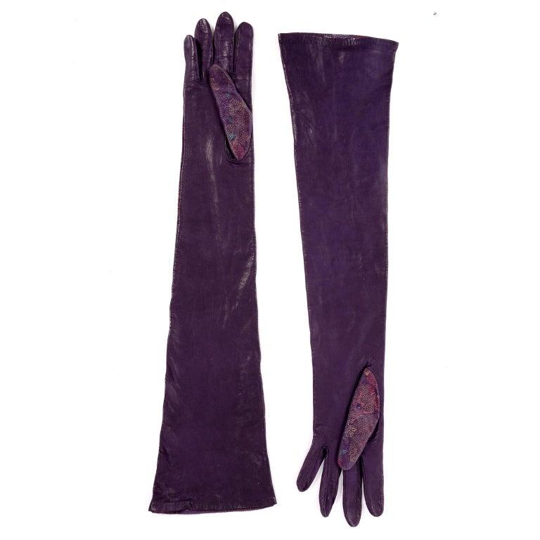 Carlos Falchi Vintage Long Purple Leather Gloves w/ Pointillism Style Flowers For Sale 2