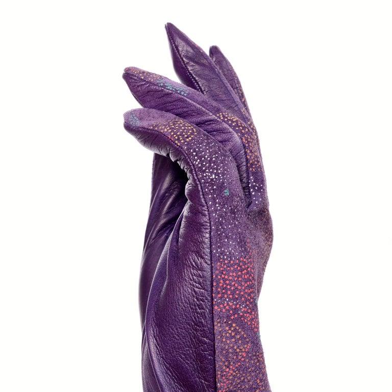 Carlos Falchi Vintage Long Purple Leather Gloves w/ Pointillism Style Flowers For Sale 7