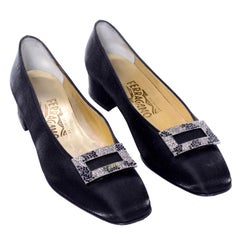 Salvatore Ferragamo Vintage Black Satin Pumps with Rhinestone Buckles 8.5