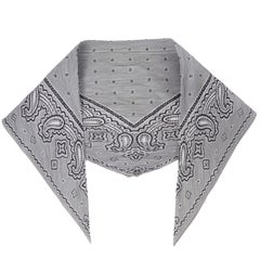 Issey Miyake Vintage Gray and Black Bandana Novelty Print Pleated Scarf
