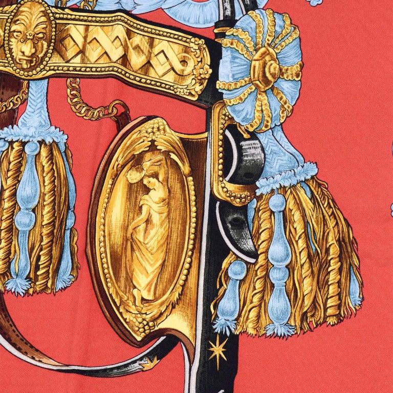 Orange Vintage Hermes Silk Scarf Bride de Cour by Francoise de la Perriere For Sale
