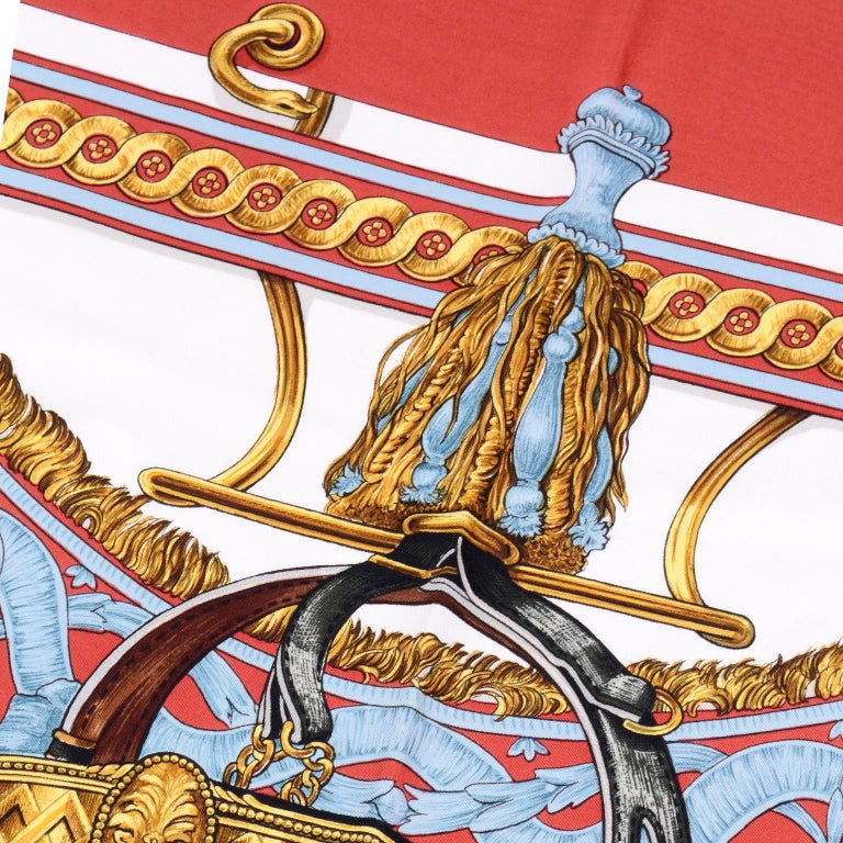 Vintage Hermes Silk Scarf Bride de Cour by Francoise de la Perriere For Sale 6