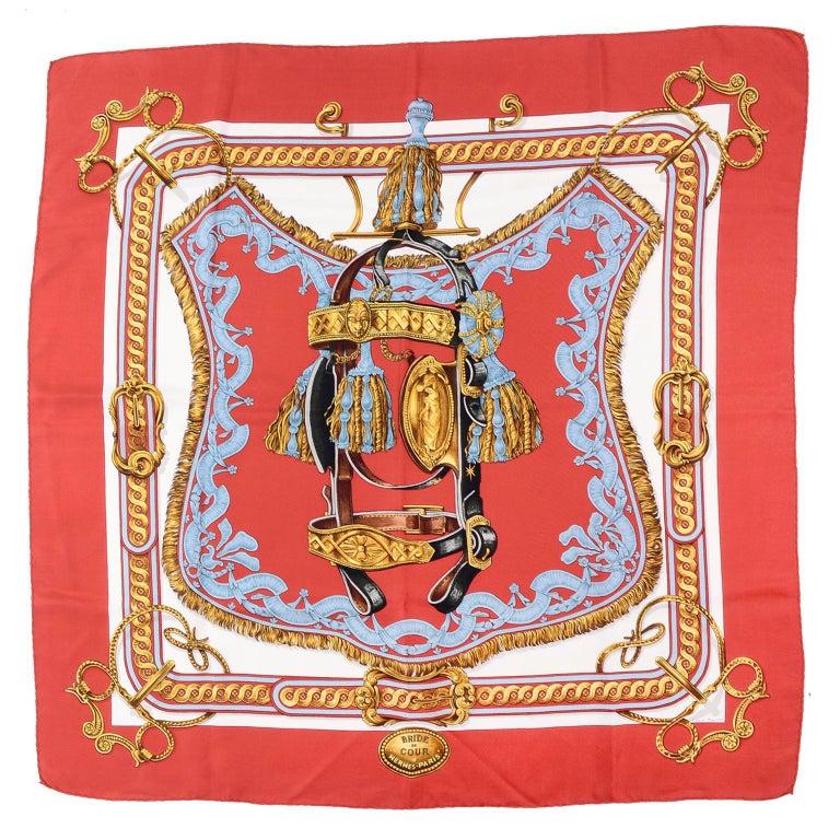 Vintage Hermes Silk Scarf Bride de Cour by Francoise de la Perriere For Sale