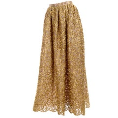 Mary McFadden Couture Evening Skirt in Gold Metallic Lace & Soutache New w/ Tags