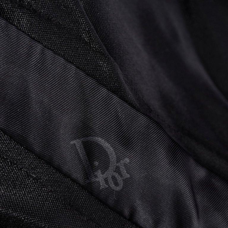 Vintage Christian Dior Dress in Black Velvet & Net W Pouf Skirt & Winged Bust For Sale 4
