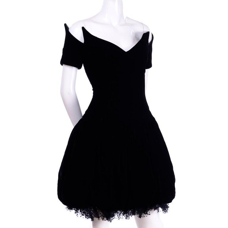 Women's Vintage Christian Dior Dress in Black Velvet & Net W Pouf Skirt & Winged Bust For Sale