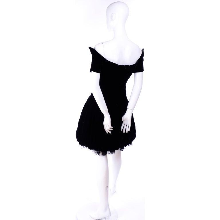 Vintage Christian Dior Dress in Black Velvet & Net W Pouf Skirt & Winged Bust For Sale 2
