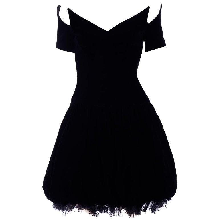 Vintage Christian Dior Dress in Black Velvet & Net W Pouf Skirt & Winged Bust For Sale