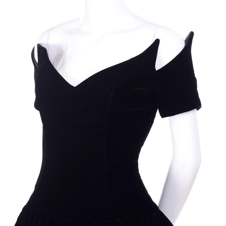 Vintage Christian Dior Dress in Black Velvet & Net W Pouf Skirt & Winged Bust For Sale 3