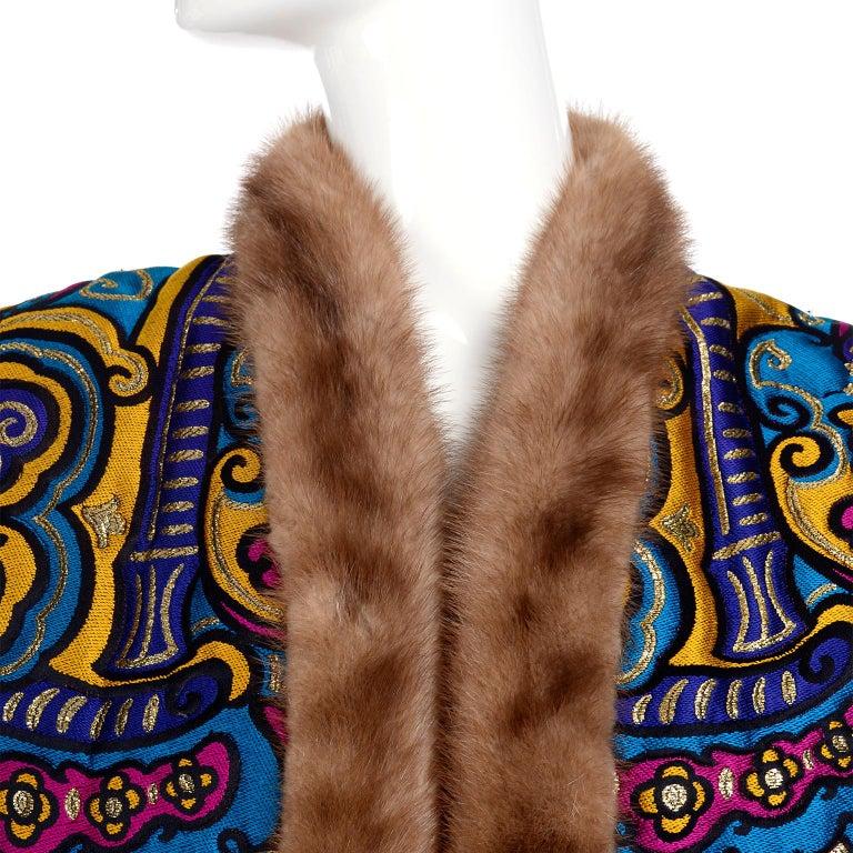 Black Vintage Jewel Tone Metallic Brocade Jacket With Mink Trim & Pink Quilted Lining For Sale