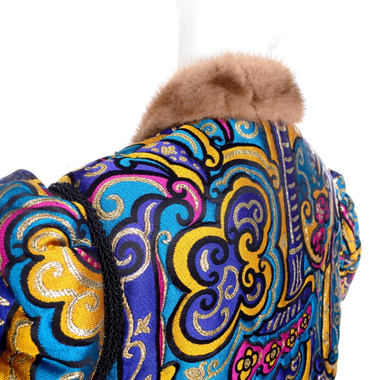 Women's Vintage Jewel Tone Metallic Brocade Jacket With Mink Trim & Pink Quilted Lining For Sale
