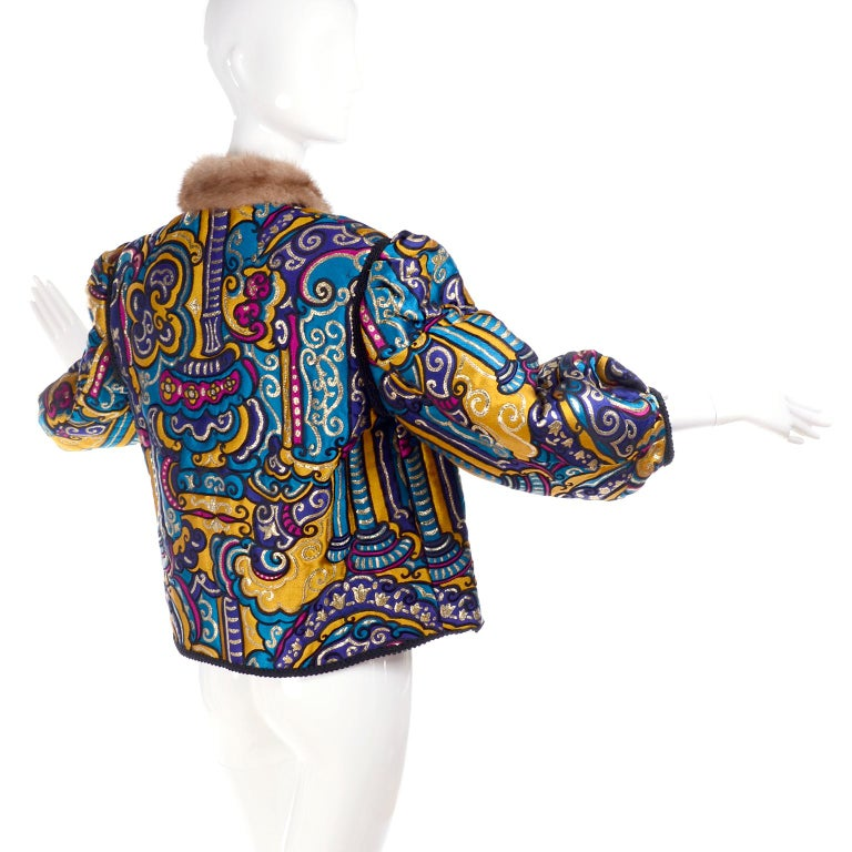 Vintage Jewel Tone Metallic Brocade Jacket With Mink Trim & Pink Quilted Lining For Sale 3