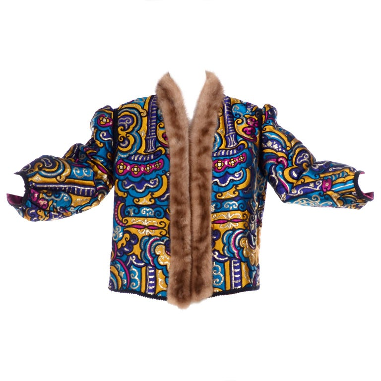 Vintage Jewel Tone Metallic Brocade Jacket With Mink Trim & Pink Quilted Lining For Sale