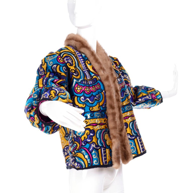 Vintage Jewel Tone Metallic Brocade Jacket With Mink Trim & Pink Quilted Lining For Sale 4