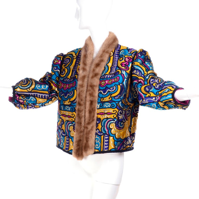Vintage Jewel Tone Metallic Brocade Jacket With Mink Trim & Pink Quilted Lining For Sale 7