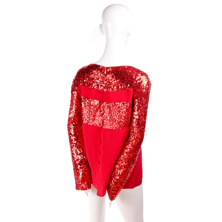 Women's Nina Ricci Vintage Red Silk Evening Top With Sequins For Sale