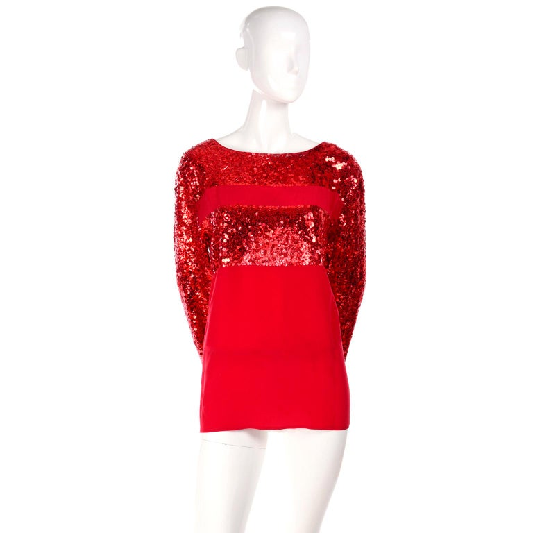 Nina Ricci Vintage Red Silk Evening Top With Sequins For Sale 1