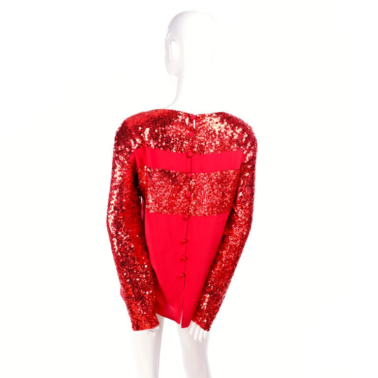 Nina Ricci Vintage Red Silk Evening Top With Sequins For Sale 2
