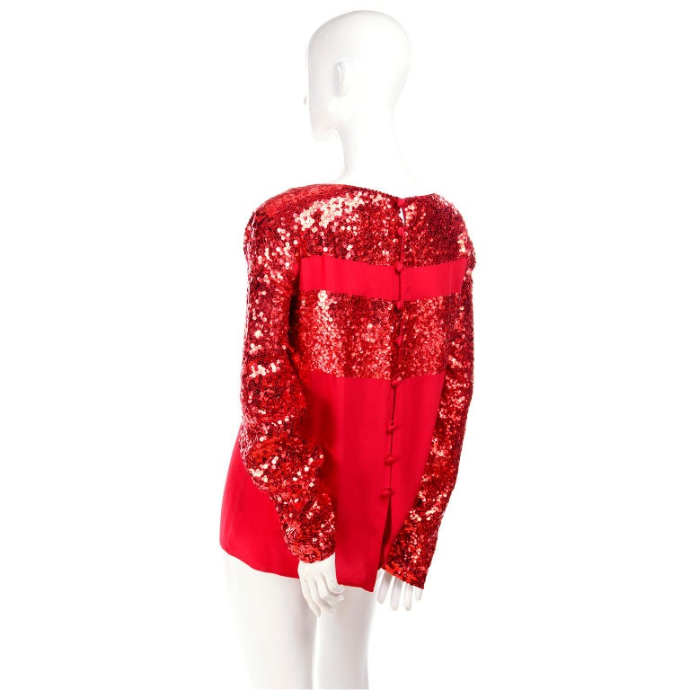 Nina Ricci Vintage Red Silk Evening Top With Sequins For Sale 3