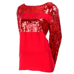 Nina Ricci Vintage Red Silk Evening Festive Holiday Top With Sequins